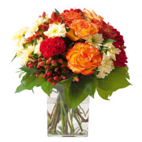Sympathy bouquet in red, yellow and orange colours (without vase)